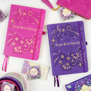 Intrinsic 2020 Diary and Planner for a Year of New Beginnings. Purple and pink diaries with Adèle Basheer's motivational quotes