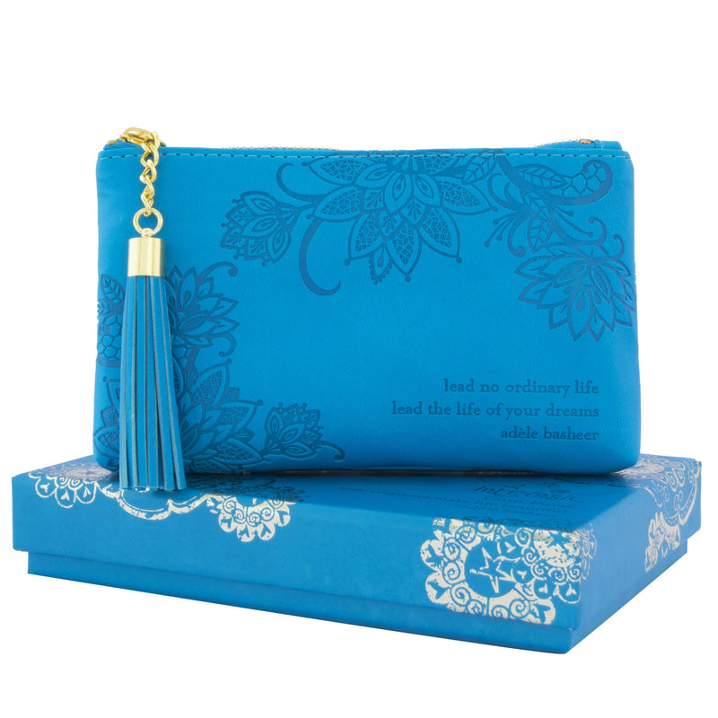 Intrinsic Peacock Blue Teal Aqua Turquoise Coin Purse for cash, phone and make up