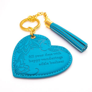 Intrinsic Peacock Blue Aqua Teal Turquoise Key Chain with inspirational quote