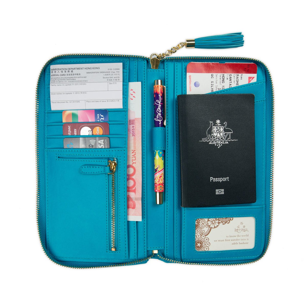 Intrinsic Peacock Blue Aqua Turquoise Teal Travel Clutch Wallet with Travel Quote
