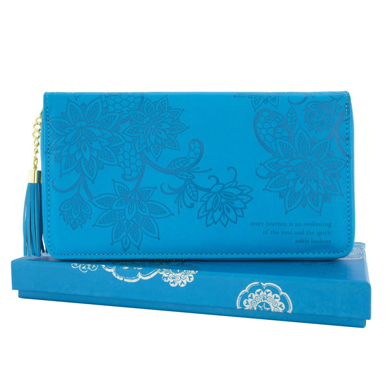 Intrinsic Peacock Blue Aqua Teal Turquoise Travel Clutch and Wallet with inspirational quote