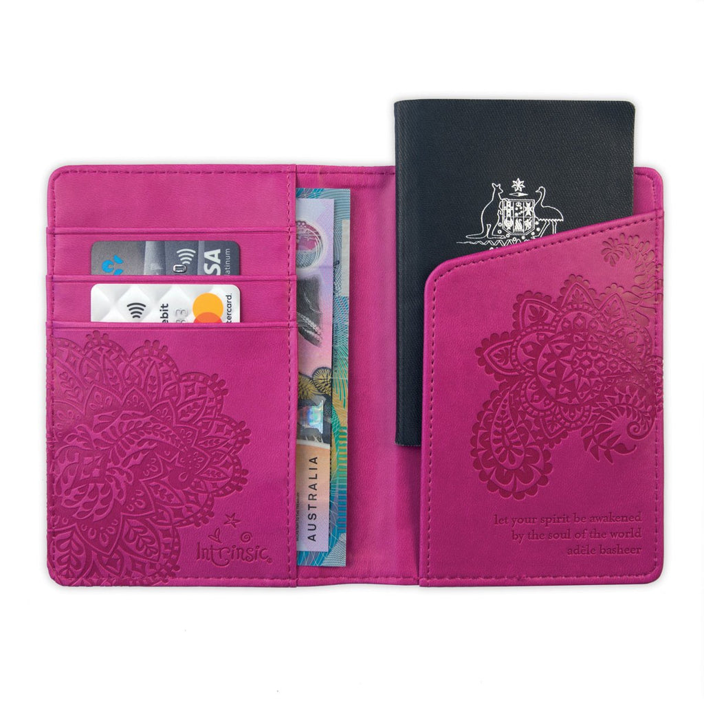 Intrinsic-Plum Cherry Passport Wallet