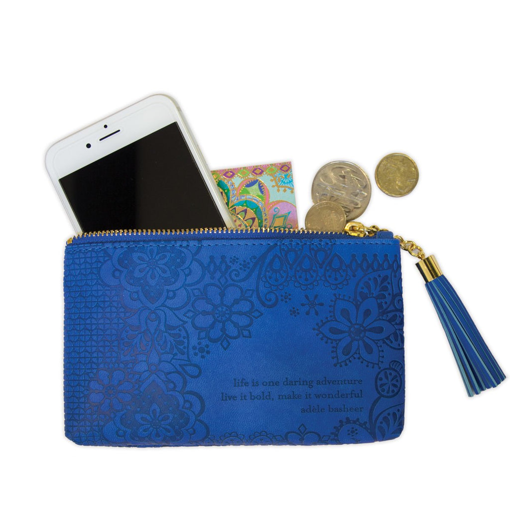 Intrinsic Santorini Blue Coin Purse in vegan leather to hold phone, money and make up