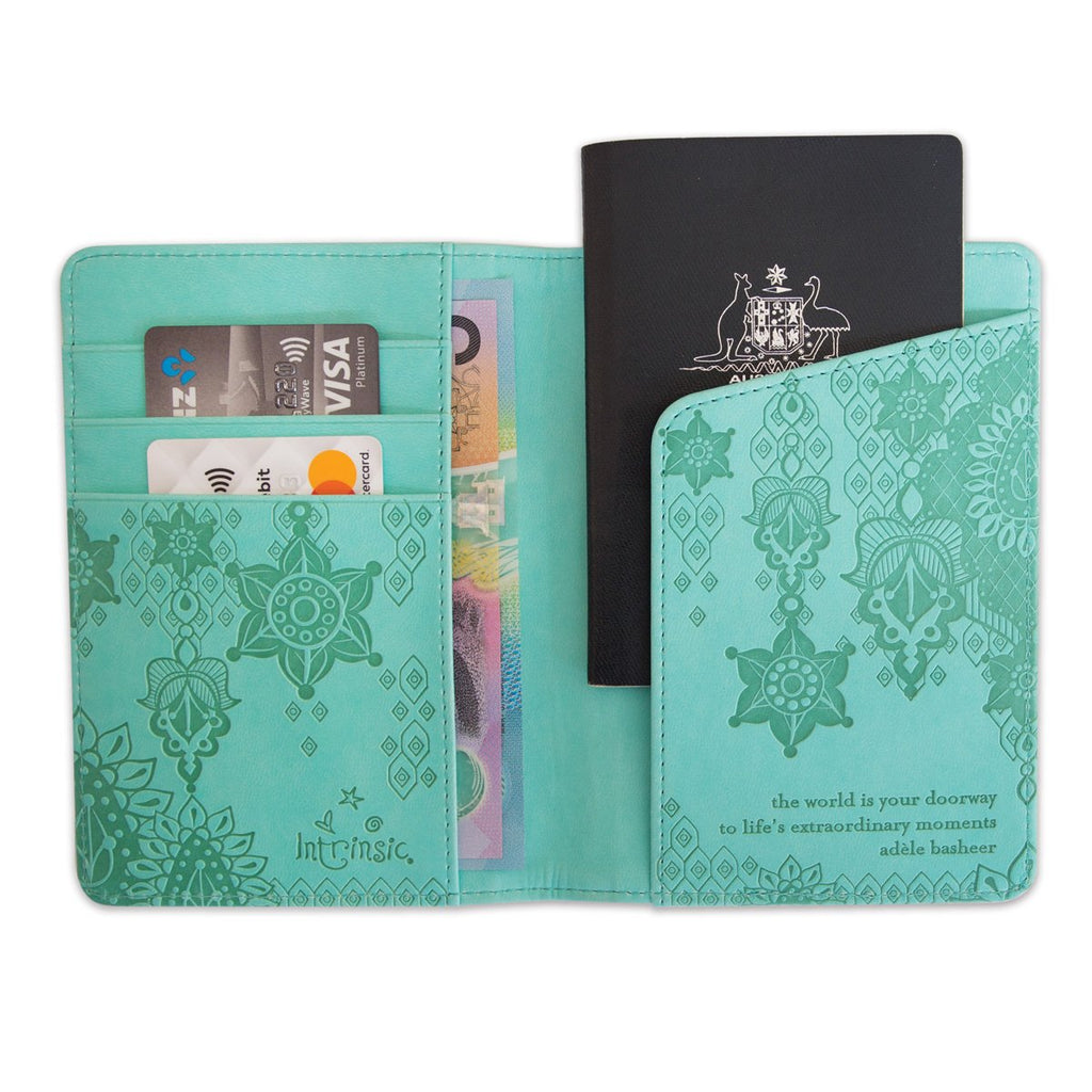 Intrinsic Tahitian Turquoise Travel Aqua Passport Holder and Cover