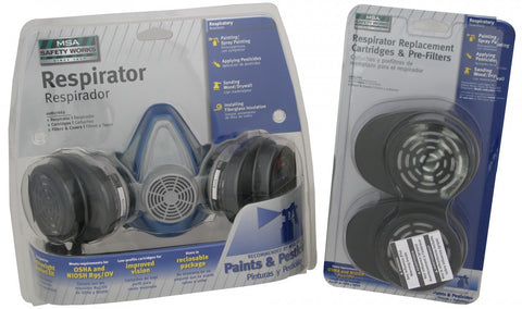 FS1400  MSA Paint & Pesticides Respirator with Extra Cartridge and Pre-filter