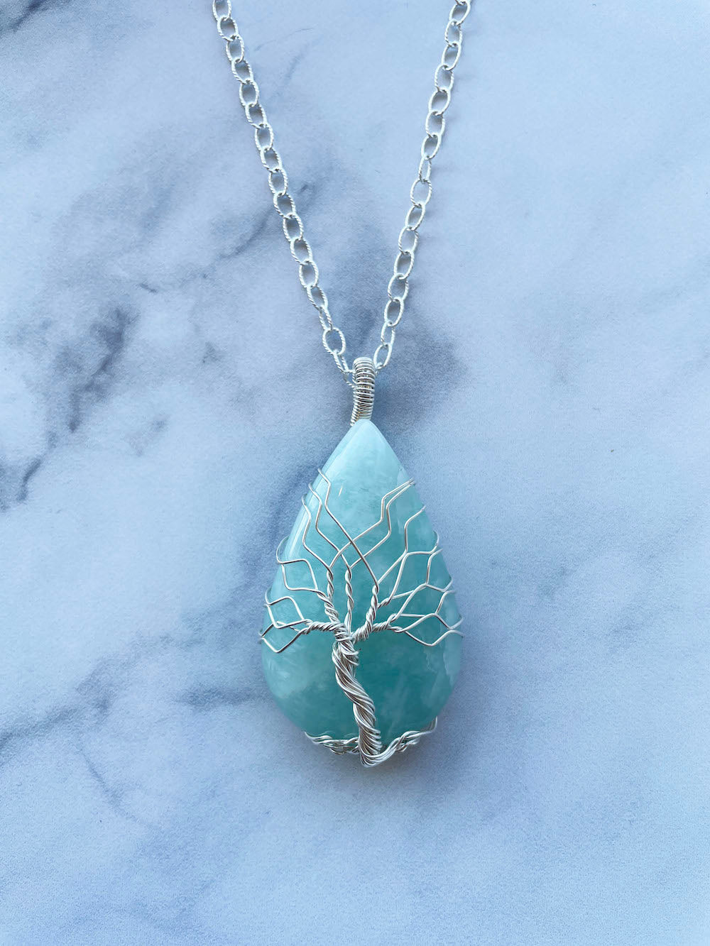 Amazonite Tree Of Life Silver Necklace