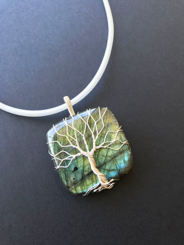 Big Labradorite pendant wire wrapped with sterling silver