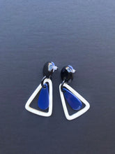 Load image into Gallery viewer, Blue buffalo horn earrings with black stud