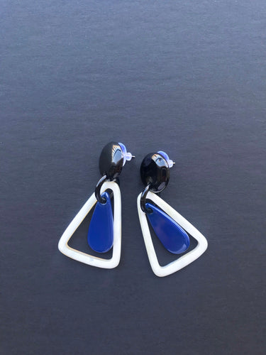 Blue buffalo horn earrings with black stud