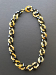 Buffalo horn twist chain necklace