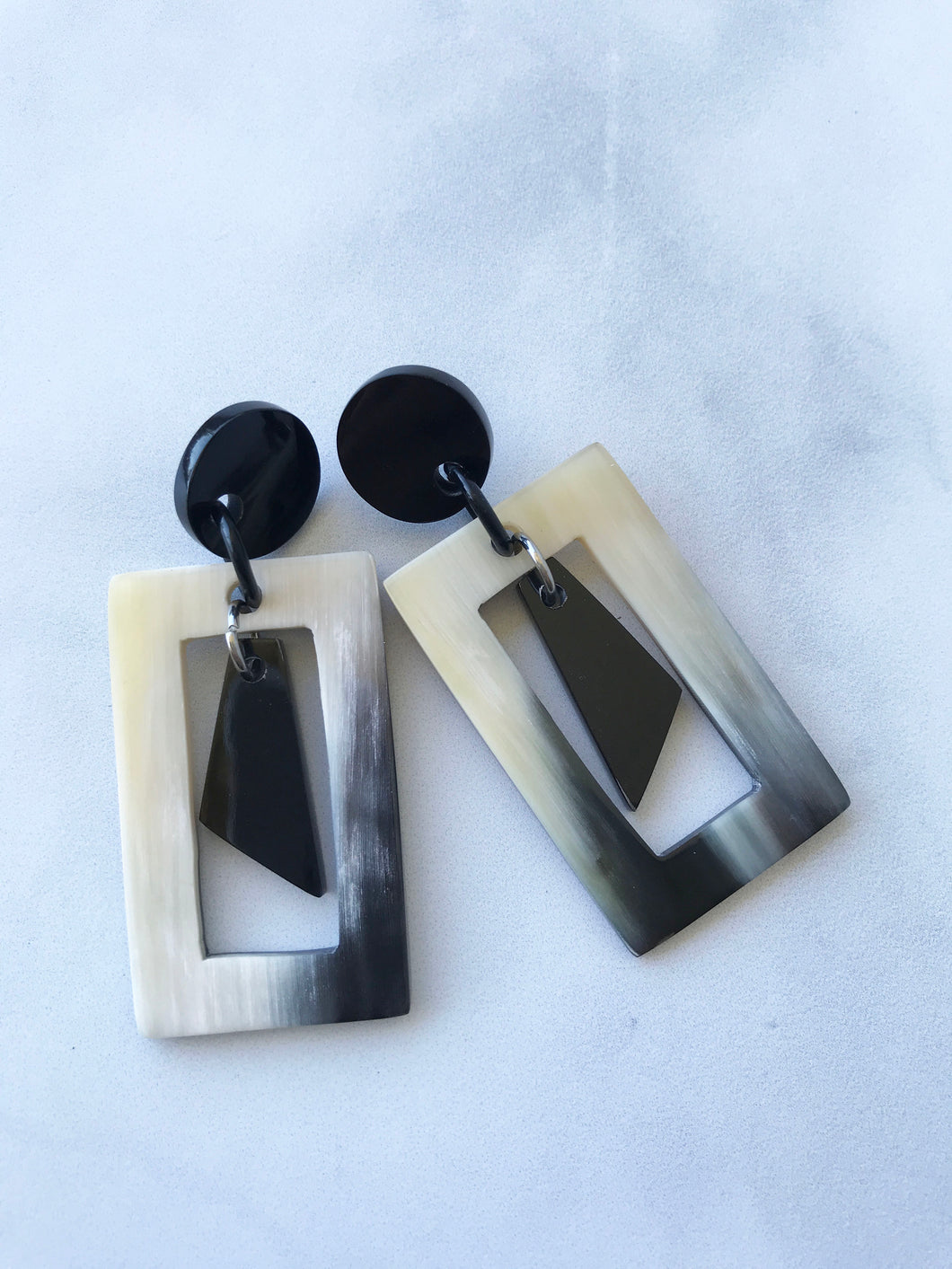 Buffalo Horn Geometric Earrings