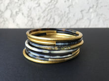 Load image into Gallery viewer, gold and black bangle set