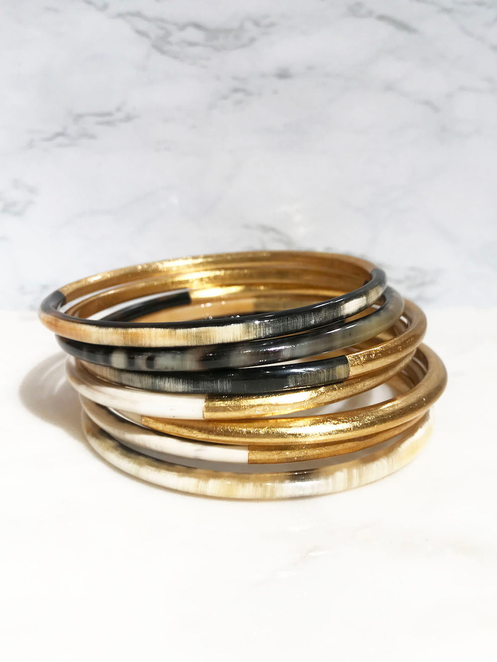 Golden buffalo horn bangle bracelet set