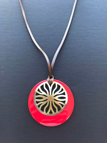 Lady In Red Pendant / Buffalo Horn