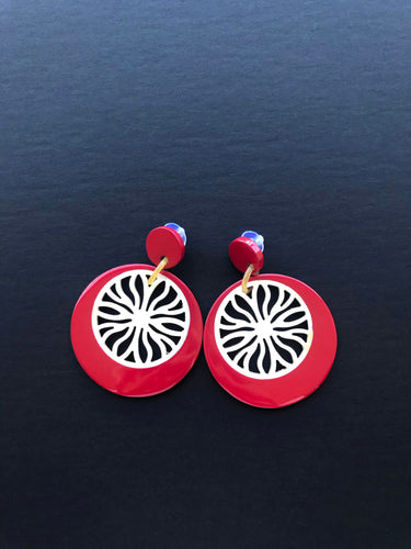 Lady in Red Earrings / Buffalo Horn