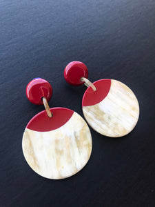 Red buffalo horn earrings