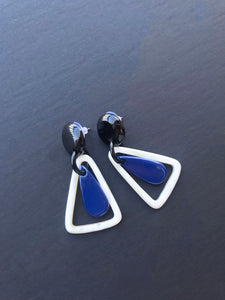Blue Lacquered Earrings / Buffalo Horn