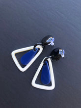 Load image into Gallery viewer, Blue Lacquered Earrings / Buffalo Horn