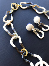 Load image into Gallery viewer, Buffalo Horn Necklace And Earrings Set / Creamy Lacquered