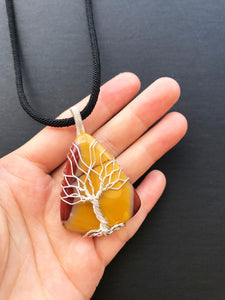Tree Of Life Necklace - Mookaite Jasper, Sterling silver 0.6 oz