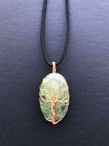 Tree Of Life Pendant Necklace, Natural Prehnite Stone