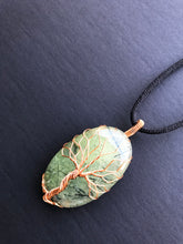 Load image into Gallery viewer, Tree Of Life Pendant Necklace, Natural Prehnite Stone