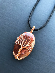 Tree Of Life Pendant Necklace, Natural Palm Agate Stone