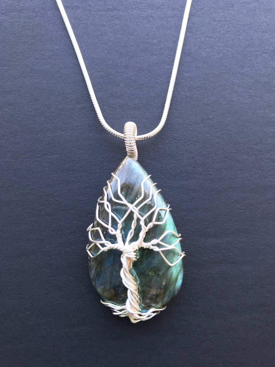 Tree Of Life Necklace - Labradorite, Sterling silver 0.6 oz