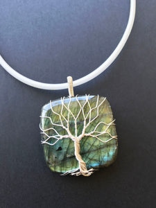 Large Labradorite sterling silver Tree Of Life pendant