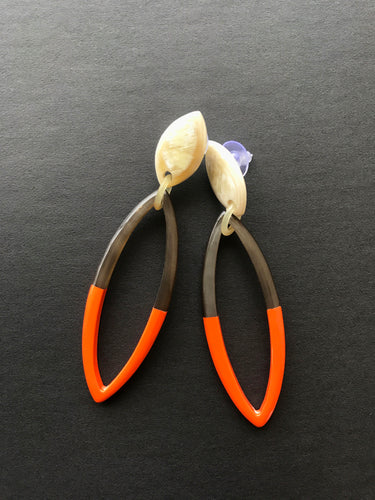 orange buffalo horn earrings