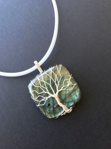 Square Labradorite Sterling silver wire wrapped pendant
