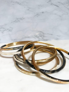 Buffalo horn bangle bracelet set in golden color