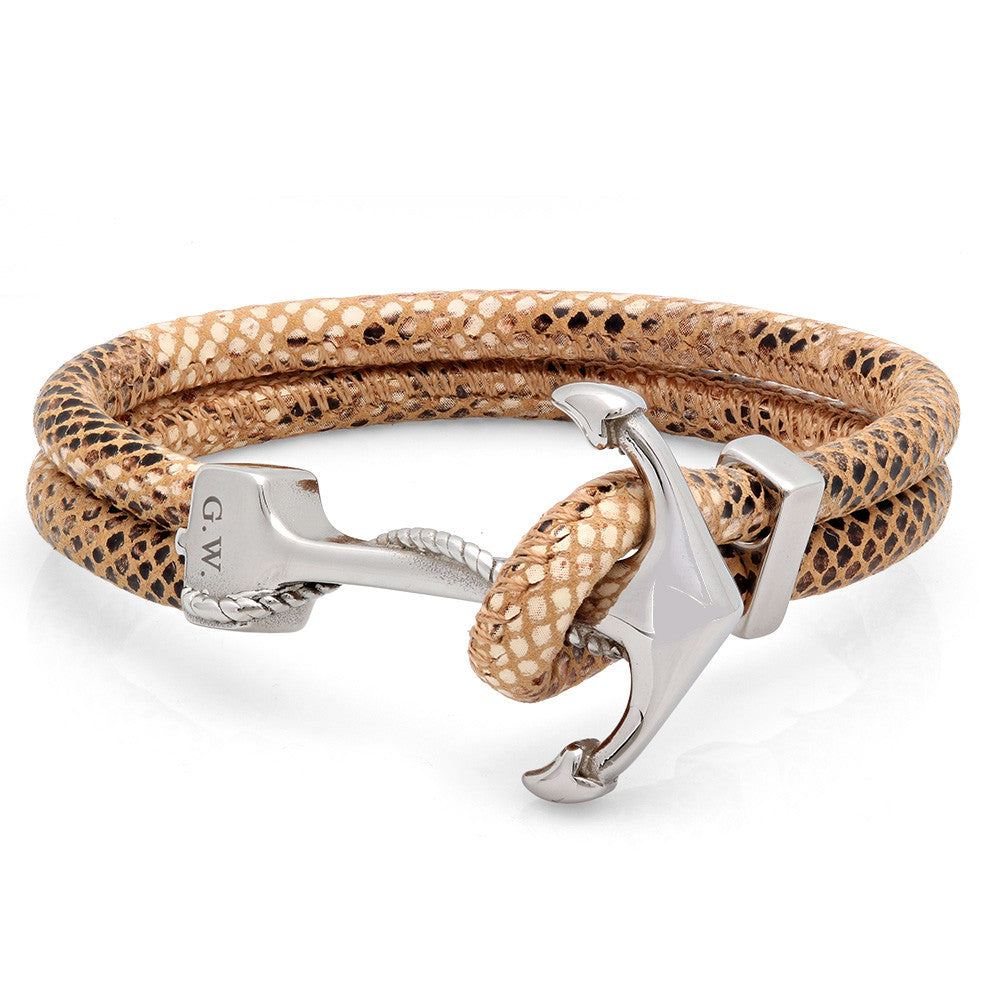 Anchor Clasp Brown Genuine Snake Skin Bracelet