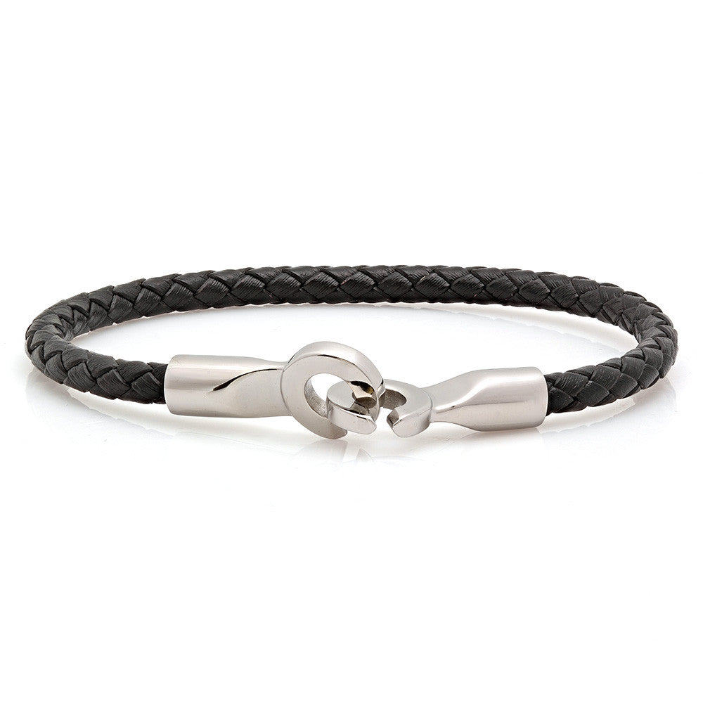 Tight Weave Black Leather Bracelet