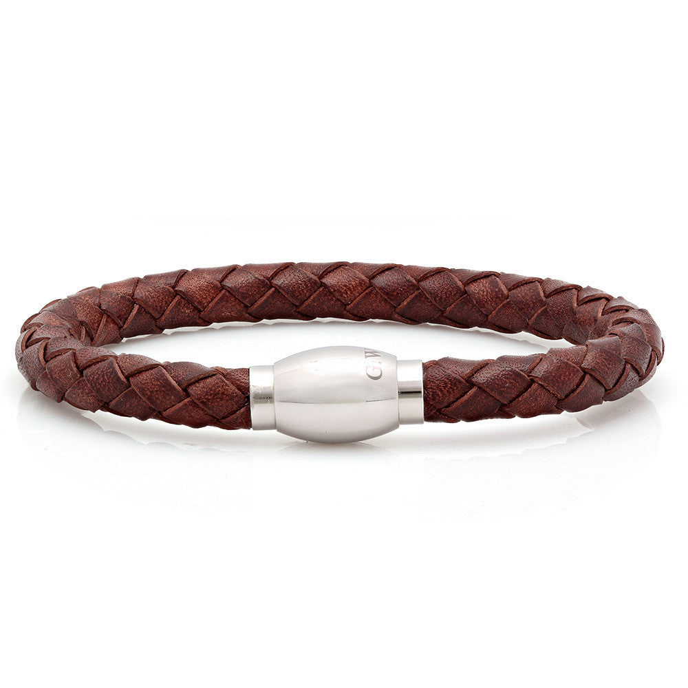 Tight Weave Brown Leather Bracelet