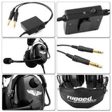 Rugged Radios RA950 Stereo ANR General Aviation Pilot Headset