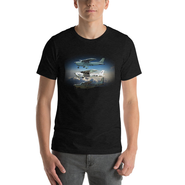 Three planes Short-Sleeve Unisex T-Shirt - Professional Aviation Headsets