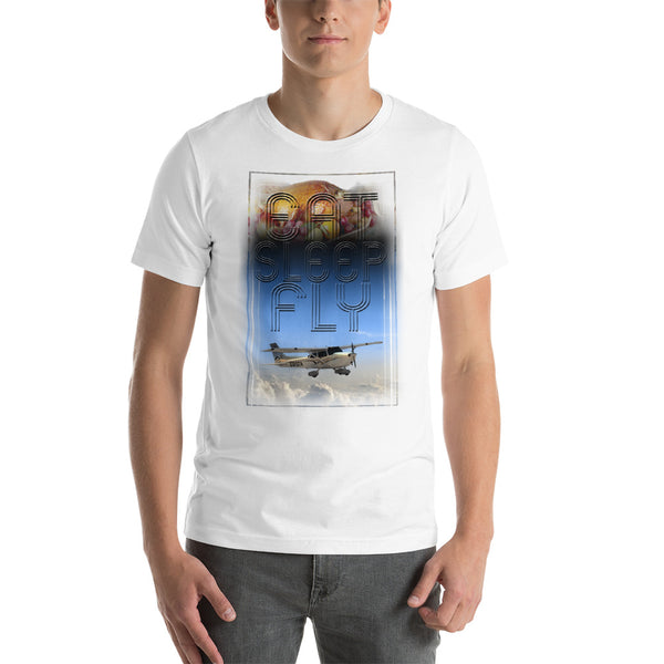 Eat Sleep Fly (Newest version) Short-Sleeve Unisex T-Shirt - Professional Aviation Headsets