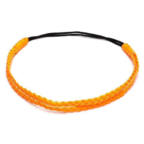 Headband double tresse orange fluo