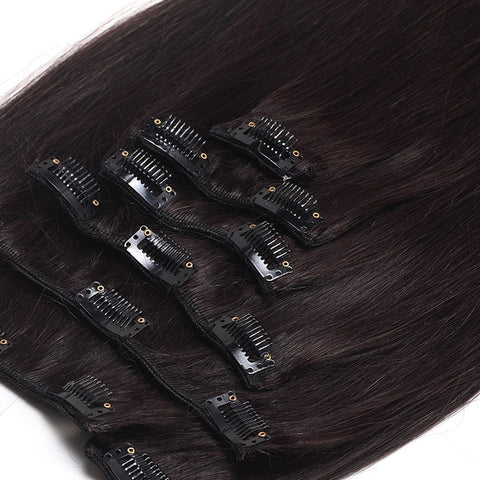 Extension a clips naturel raides brun foncé mega volume