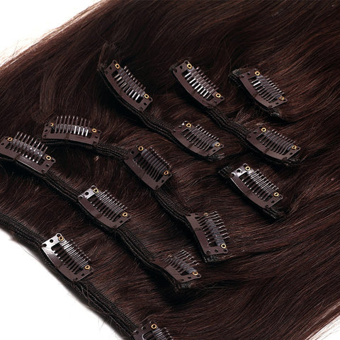 Extension a clips naturel raides brun mega volume