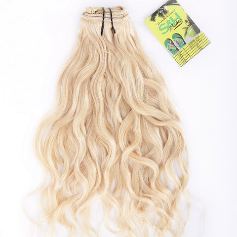 Extension a clips naturel brésiliens ondulé blond platine mega volume
