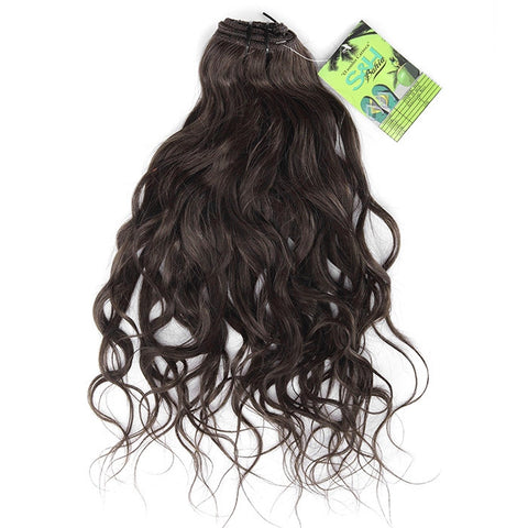 Extension a clips naturel brésiliens ondulé brun mega volume