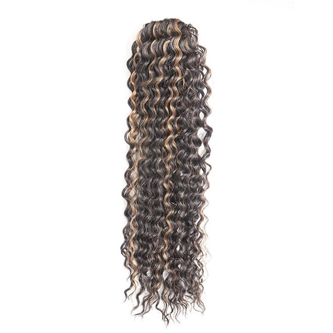 "Postiche 26"" Queue de cheval Wavy Chocolat Méché Blond"