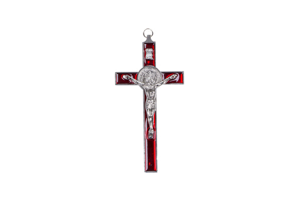 Metal St Benedict Wall Crucifix - Red (25cm)