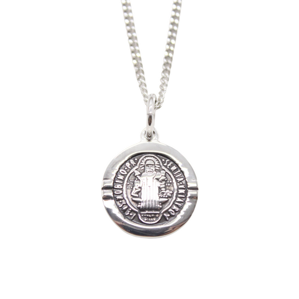 Stainless Steel St Benedict Medal /Chain set