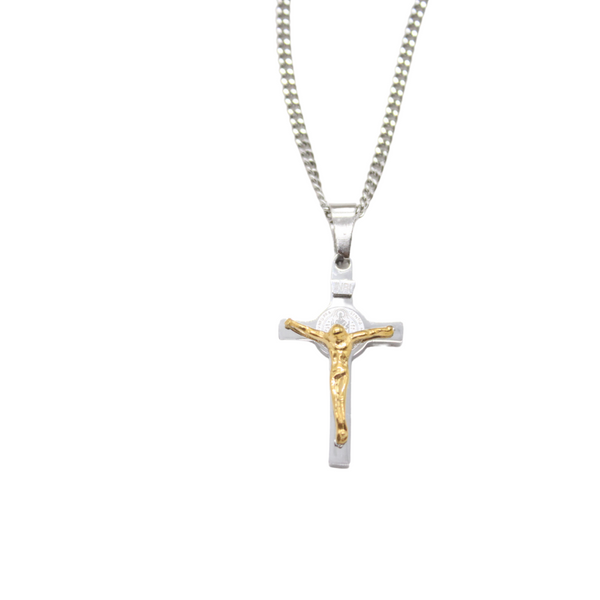 Stainless Steel St Benedict Crucifix/Chain - Gold/Silver (small)