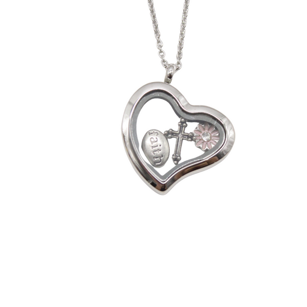 Stainless Steel Glass Heart Floating Pendant/Chain set