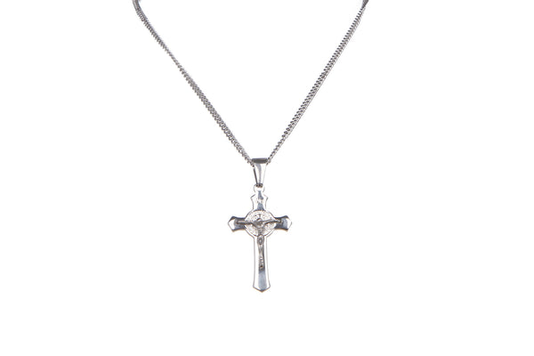 Stainless Steel St Benedict 4.5 cmCrucifix/Chain - Silver