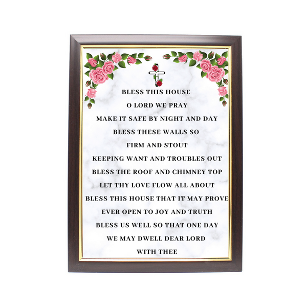 Wood Framed Picture Home Blessing (Design A)